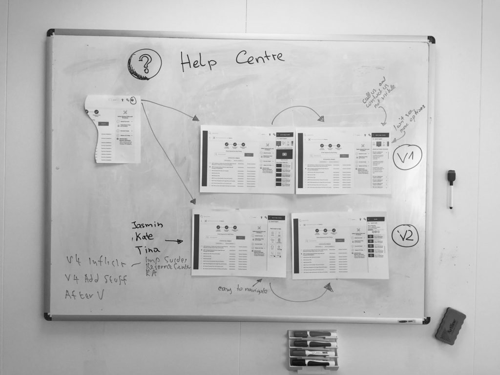 Help Centre Wireframes UX